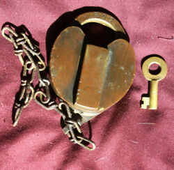 Vintage Brass Switch Lock Type Padlock With Key. Shackle Marked Eog And M