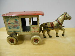 Vintage Marx Toylands Farm Products Horse And Delivery Wagon Tin Wind Up Toy
