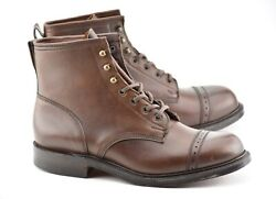 New   Rrl 10d Bowery Boots Brown Leather Cap Toe Double Rl England