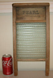 Vintage Antique Pearl Washboard Glass Primitive Rustic Laundry Room Decor