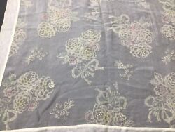 Vintage Antique Tablecloth Sheer Ivory Chiffon Flocked Flower Bouquets