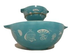 Vintage Pyrex Hot Air Balloon Chip And Dip Bowl Set 's 441 And 444 With Bracket