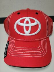 New Toyota Fishing Team Red/white Mesh Hat With Adjustable Hook And Loop.
