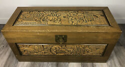 Vintage Finely Carved Oriental Camphor Wood Chest / Trunk Antique Asian/chinese
