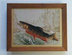 Vintage Wall Key Holder With Fish Picture Cabin Mancave Lakehouse Decor