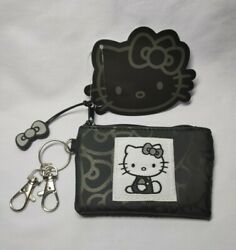 Sanrio Hello Kitty Black Coin Purse Wallet w Bow Charm amp; 2 Carabiner Clasps
