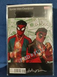 Deadpool Spiderman 1 Hiphop Variant Cover Signed By Dave Johnson.marvel Comics