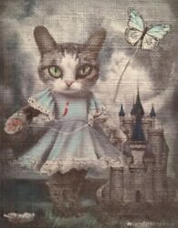 Original Modern Abstract Oil Gothic Cat With Kite aceo Goodpaster