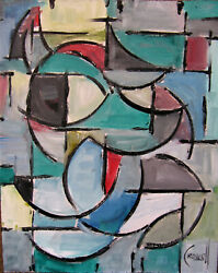 JUST A FANTASY abstract modern art signed 8x10 original oil painting Crowell US