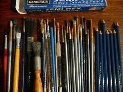 Vintage Artist Paint Brushes Lot over 25 drawing pencils
