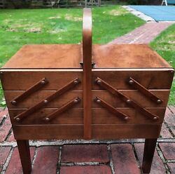 Vintage As Strommen Bruk Hamar Accordion Style Wooden Sewing Box Norway 67 Wing