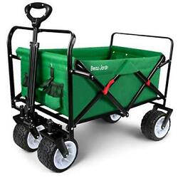 Folding Wagon Cart 300 Pound Capacity Collapsible Utility Camping Green