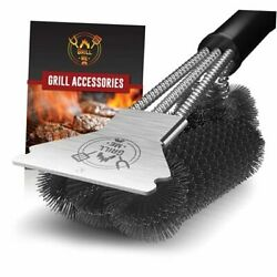 Grill Brush And Scraper - Sturdy Bbq Grill Cleaning Brush For Outdoor Grill -
