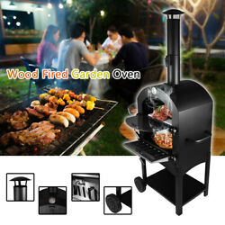 Outdoor Bbq Pizza Oven Wood/charcoal Smoker Barbecue Grill With Wheels Portable