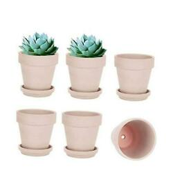5 Inch Clay Pot For Plant With Saucer - 6 Pack Terra Cotta Terracotta Pink