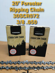 2 Pack 20 Forester Chainsaw Chain Jonsered 2258 3/8 .050 Ripping Milling