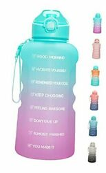 1 Gallon Motivational Water Bottle With Straw And Time Marker Green-purple