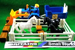 Britains Small World Farm Set W/ White And Black Horses Farmer Tractor And Trailer