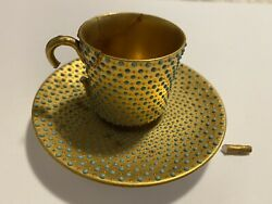So Rare Antique Coalport Cup Saucer Plate Turquoise Blue Gold Jeweled Jewelling