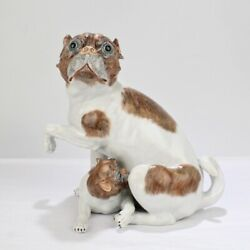 Large Dresden Porcelain Pug Dog Mother And Puppy Figurine Or Model - Pc
