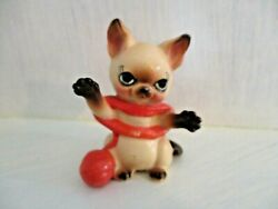 Vintage Japan Anthropomorphic Siamese Cat Figurine Playing with Yarn Adorable