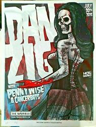 Danzig Limited Silk Screened Artist Signed And Numbered Gig Poster 7/30/2015