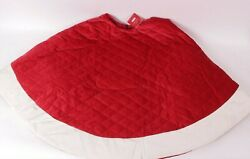 Pottery Barn Classic Velvet Christmas Tree Skirt Large 60 Ruby Red Ivory Cuff