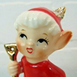 VINTAGE LEFTON SANTA#x27;S ELF RED OUTFIT POINTY EARS ADORABLE 1960#x27;S CERAMIC #3296
