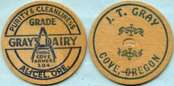 Alicel And Cove Oregon Milk Cap Pair Grayand039s Dairy And J.t. Gray