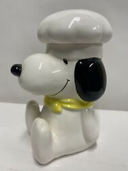 """Vintage Chef Snoopy 8"""" Ceramic Cookie Jar 1958 1966 UNITED FEATURE SYNDICATE"""