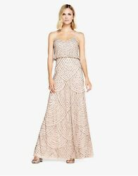 Adrianna Papell Art Deco Blouson Gown Taupe Pink - Us 10