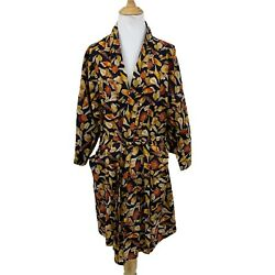 Vintage Saks Fifth Avenue Floral Silk Robe Womenand039s One Size Belted Mid Sleeve