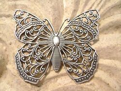 3211 Butterfly Pendant Centerpiece Stamping Filigree .925 Sterling Silver Brass