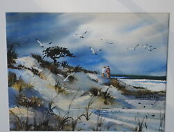 Couple On The Sand Dunes With Seagulls By Robert Landry Price Reduced