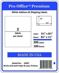 Po07 50000 Premium Labels Pro Office Self-adhesive Shipping Label 8.5 X 5.5