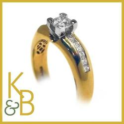 Ladies 18ct Gold 0.93ct 13 Stone Diamond Solitaire Ring Size O 11487 Sale