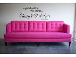 CLASSY amp; FABULOUS coco chanel Wall Decal Lettering Quote Stencil Sticker 24quot;