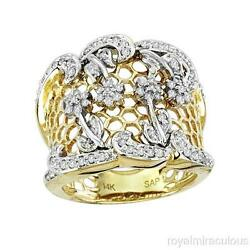 0.50 Ctw Diamond Ring 14k Two Tone Gold Right Hand Ring