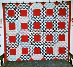 Ocean Waves Quilt 70 X 80 C.1865-1875 New England. Turkey Red Squares