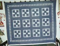 Botch Handle W Running Diamonds Quilt 70 X 80, Indiana, Amish, Cottons