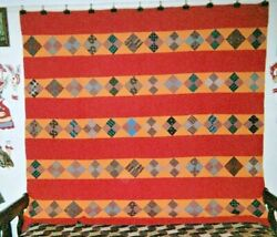 Four Patch In Bars Quilt 74 X 80 C.1880s From Center Co. Pa