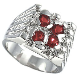 Four Ruby Red Cz Stone Silver Rhodium Ep Mens Ring