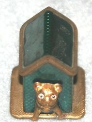 Figural Celluloid Antique Gold And Blue/green Dog House,tape Measure Novelty