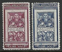Vatican Stamps 1951 Yv Airmail 20-21 Mnh Vf