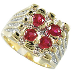 Four Ruby Red Stone Gold Ep Two Tone Mens Ring