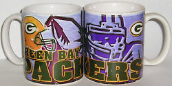 Green Bay Packers Ceramic Coffee Mugs - Qty 3 Player Design