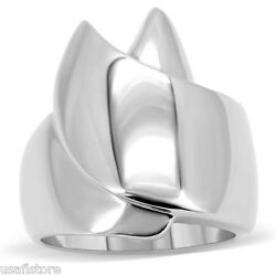 Geometric Ribbon Silver Stainless Steel Ladies Cocktail Ring New