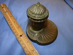 Vintage 1900 's Brass Ink Well With Milk Glass Cup And Flip Lid