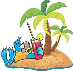 Parrot with drink beach palm tree cornhole game board vinyl graphic decals