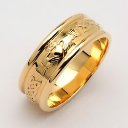 14k Yellow Gold Menand039s Claddagh Wedding Ring 7mm